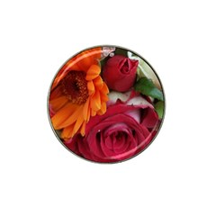 Floral Photography Orange Red Rose Daisy Elegant Flowers Bouquet Hat Clip Ball Marker by yoursparklingshop