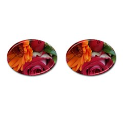 Floral Photography Orange Red Rose Daisy Elegant Flowers Bouquet Cufflinks (oval) by yoursparklingshop