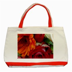 Floral Photography Orange Red Rose Daisy Elegant Flowers Bouquet Classic Tote Bag (red) by yoursparklingshop