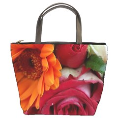 Floral Photography Orange Red Rose Daisy Elegant Flowers Bouquet Bucket Bags by yoursparklingshop