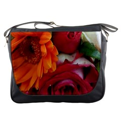 Floral Photography Orange Red Rose Daisy Elegant Flowers Bouquet Messenger Bags by yoursparklingshop