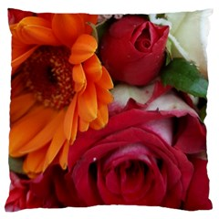 Floral Photography Orange Red Rose Daisy Elegant Flowers Bouquet Large Cushion Case (two Sides) by yoursparklingshop