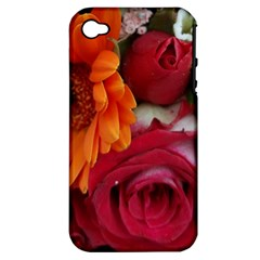 Floral Photography Orange Red Rose Daisy Elegant Flowers Bouquet Apple Iphone 4/4s Hardshell Case (pc+silicone) by yoursparklingshop
