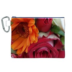 Floral Photography Orange Red Rose Daisy Elegant Flowers Bouquet Canvas Cosmetic Bag (xl) by yoursparklingshop