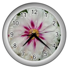 Floral Soft Pink Flower Photography Peony Rose Wall Clocks (silver)  by yoursparklingshop
