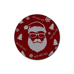 Ugly Christmas Sweater Rubber Coaster (round)  by Valentinaart