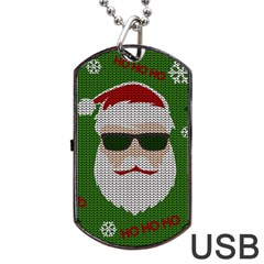 Ugly Christmas Sweater Dog Tag Usb Flash (two Sides) by Valentinaart