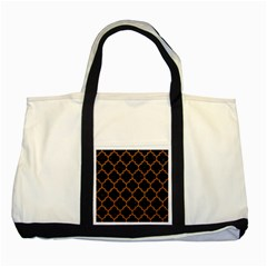 Tile1 Black Marble & Teal Leather (r) Two Tone Tote Bag by trendistuff