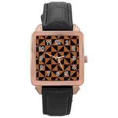Triangle1 Black Marble & Teal Leather Rose Gold Leather Watch  by trendistuff