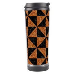 Triangle1 Black Marble & Teal Leather Travel Tumbler