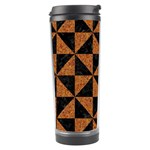 TRIANGLE1 BLACK MARBLE & TEAL LEATHER Travel Tumbler Left