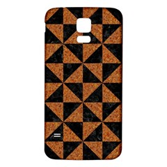 Triangle1 Black Marble & Teal Leather Samsung Galaxy S5 Back Case (white) by trendistuff