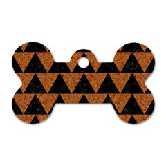 Triangle2 Black Marble & Teal Leather Dog Tag Bone (two Sides) by trendistuff