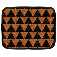 Triangle2 Black Marble & Teal Leather Netbook Case (large) by trendistuff