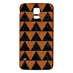 Triangle2 Black Marble & Teal Leather Samsung Galaxy S5 Back Case (white) by trendistuff