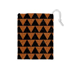 Triangle2 Black Marble & Teal Leather Drawstring Pouches (medium)  by trendistuff