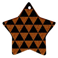 Triangle3 Black Marble & Teal Leather Star Ornament (two Sides) by trendistuff