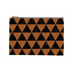 Triangle3 Black Marble & Teal Leather Cosmetic Bag (large)  by trendistuff