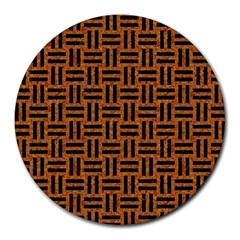 Woven1 Black Marble & Teal Leather Round Mousepads by trendistuff