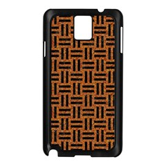 Woven1 Black Marble & Teal Leather Samsung Galaxy Note 3 N9005 Case (black) by trendistuff