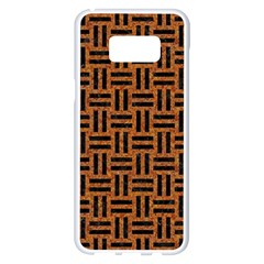 Woven1 Black Marble & Teal Leather Samsung Galaxy S8 Plus White Seamless Case by trendistuff