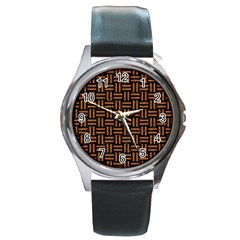 Woven1 Black Marble & Teal Leather (r) Round Metal Watch by trendistuff