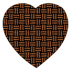 Woven1 Black Marble & Teal Leather (r) Jigsaw Puzzle (heart) by trendistuff