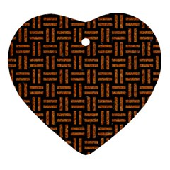 Woven1 Black Marble & Teal Leather (r) Heart Ornament (two Sides) by trendistuff