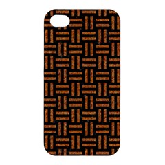 Woven1 Black Marble & Teal Leather (r) Apple Iphone 4/4s Hardshell Case by trendistuff