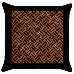 Woven2 Black Marble & Teal Leather Throw Pillow Case (black) by trendistuff