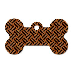 Woven2 Black Marble & Teal Leather Dog Tag Bone (two Sides) by trendistuff