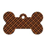 WOVEN2 BLACK MARBLE & TEAL LEATHER Dog Tag Bone (Two Sides) Front