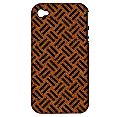 Woven2 Black Marble & Teal Leather Apple Iphone 4/4s Hardshell Case (pc+silicone) by trendistuff