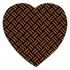 Woven2 Black Marble & Teal Leather (r) Jigsaw Puzzle (heart) by trendistuff