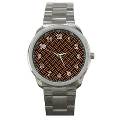 Woven2 Black Marble & Teal Leather (r) Sport Metal Watch by trendistuff
