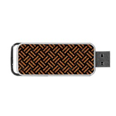 Woven2 Black Marble & Teal Leather (r) Portable Usb Flash (two Sides) by trendistuff