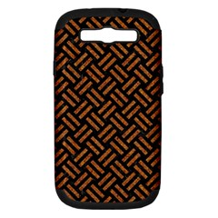 Woven2 Black Marble & Teal Leather (r) Samsung Galaxy S Iii Hardshell Case (pc+silicone) by trendistuff