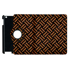 Woven2 Black Marble & Teal Leather (r) Apple Ipad 2 Flip 360 Case by trendistuff