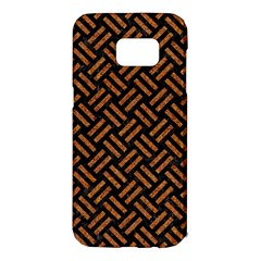Woven2 Black Marble & Teal Leather (r) Samsung Galaxy S7 Edge Hardshell Case by trendistuff