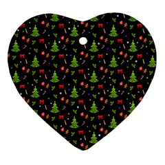 Christmas Pattern Heart Ornament (two Sides) by Valentinaart