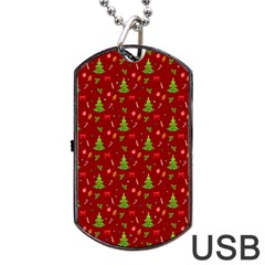 Christmas Pattern Dog Tag Usb Flash (one Side) by Valentinaart