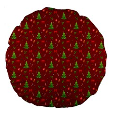 Christmas Pattern Large 18  Premium Flano Round Cushions by Valentinaart