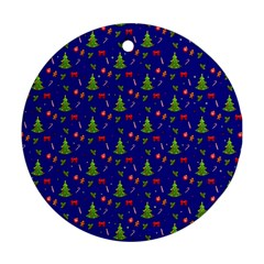 Christmas Pattern Round Ornament (two Sides) by Valentinaart