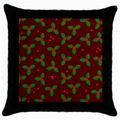 Christmas Pattern Throw Pillow Case (black) by Valentinaart
