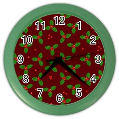 Christmas Pattern Color Wall Clocks by Valentinaart