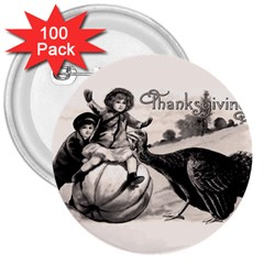 Vintage Thanksgiving 3  Buttons (100 Pack)  by Valentinaart