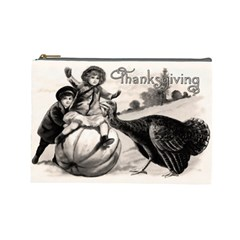 Vintage Thanksgiving Cosmetic Bag (large)  by Valentinaart