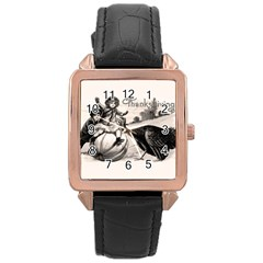 Vintage Thanksgiving Rose Gold Leather Watch  by Valentinaart