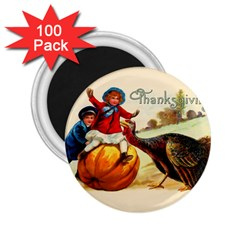 Vintage Thanksgiving 2 25  Magnets (100 Pack)  by Valentinaart