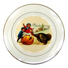 Vintage Thanksgiving Porcelain Plates by Valentinaart